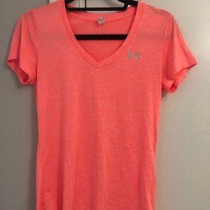 Neon orange under armour workout shirt